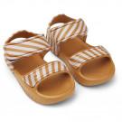 Mosterd gestreepte sandaaltjes -Blumer sandals mustard/creme de la creme