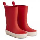 Appelrode regenlaarzen met streep - River rain boot apple red/ creme de la creme mix