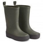 Legergroene regenlaarzen met streep - River rain boot hunter / black mix