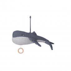 Blauw gebreide muziekmobiel walvis - Angela music mobile whale blue wave