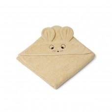 Lichtgele XL badcape met muizensnoetje en oortjes - Augusta hooded towel mouse wheat yellow