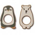 Set 2 bijtringen pinguïn en ijsbeer - Gili teether 2 pack hunter green multi mix