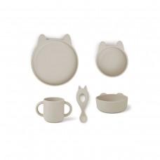 Silicone eetsetje konijn - Vivi silicone tableware 4 pack baby rabbit sandy beige
