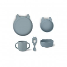 Silicone eetsetje konijn - Vivi silicone tableware 4 pack baby rabbit sea blue