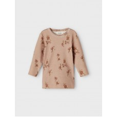 Oudroos t-shirtje met bloemen - Nbfgaya almondine