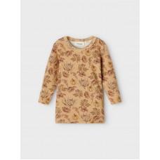 Bruingeel t-shirtje met bloemen - Nbfgaya lark