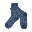 Blauwe sokken raster - Nico socks real teal