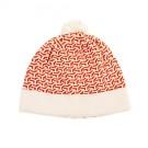 Roestbruin met witte muts - Hat knit hazelnut