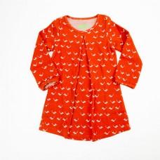 Roestbruin jacquard kleedje met muisjes - Dress Alizee jacquard mice