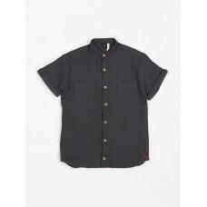 Antracietgrijs hydrofiel hemdje kids - Siska - Mao shirt tetra antra