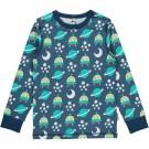 Blauwe t-shirt lange mouwen met ruimtewezens - top longsleeve space ship