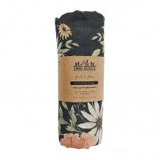 XL-tetradoek - Spring Blossom (charcoal grey)