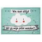 Groot krasbiljet wolkje funny cloud : win voor altijd - wil je mijn peter worden