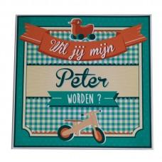 Retro sticker - Wil je mijn peter worden?