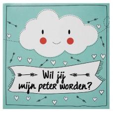 Wolkjes sticker - Wil je mijn peter worden?