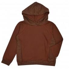 Bruine geruite sweater - Hooded sweater brown dots