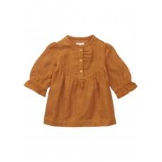 Karamelbruin kleedje met gouden streepjes - Sheridan cathay spice