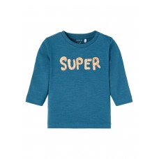 Petrolblauwe t-shirt super - Nbmlionel legion blue