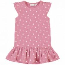 Fuchsia kleed met  hartjes- nmfvida dress garanium pink