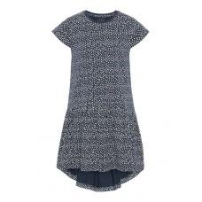 Donkerblauw kleedje met witte stipper- Nmfvigga small dots