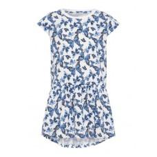 Wit kleedje met blauwe vlinders- Nmfvigga dress butterfly