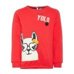 Rode sweater met lama -Labina sweat true red (stapelkorting)