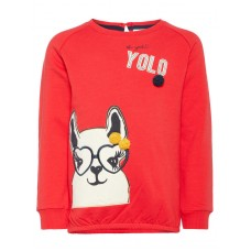 Rode sweater met lama -Labina sweat true red (stapelkorting)