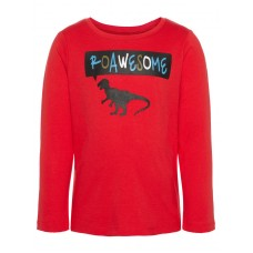 Rode t-shirt met dino roawesome- vagno true red