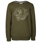 Kakikleurige sweater met tijger - ladigo burnt olive (stapelkorting)