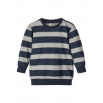 Blauw gestreepte sweater - Nbmbistripe light sweat grey melange