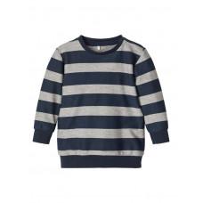 Blauw gestreepte sweater - Nbmbistripe light sweat grey melange