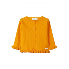 Donkergele  gilet - Nbfkailey ls knit card -  Golden orange