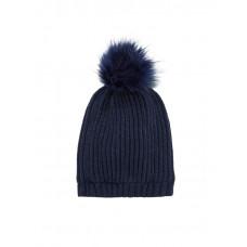 Donkerblauw gebreide muts met pompon - Nkmmasar knit hat dark sapphire