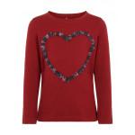 Bordeaux t-shirt met hartje - Nmfolinasi biking red