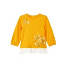 Okergeel t-shirtje met bloemetjes - nbfnova golden