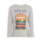 Lichtgrijze t-shirt met hamburger - Nmmnansa ls top box grey melange