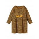 Cognackleurig jurkje met panterprint - Nbftiana ls dress bone brown