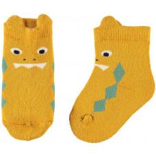 Okergele sokjes met monster- Nbmnilas frotte golden