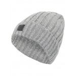 Grijze muts met gele accenten - Nitmalle knit hat grey melange