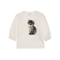 Witte t-shirt lange mouwen met schattig katje - one of a kind - nitsestine off white