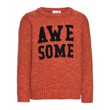 Roestbruine gebreide trui Awesome - Niteskona knit ketchup