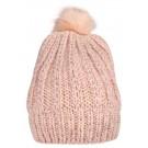 Roze muts met lurex en pomponnetje - nitmaulu knit hat evening sand