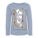 Grijsblauwe t-shirt met gouden vlinders - nmfgirulla flint stone - maat 92 (Geboortelijst Elliott V.)
