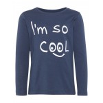 Donkerblauwe t-shirt lange mouwen - I'm so cool - nmmdamsko top blue