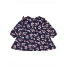 Donkerblauw kleedje met roze bloemetjes - nbfdakka blua - maat 62 (Geboortelijst Ellis B.)