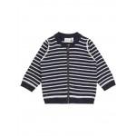 Blauwe hoodie met witte strepen  - nmdanny knit hoodie blue stripes