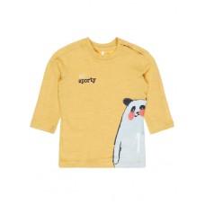 Okerkleurige melée t-shirt met beertje - Mr. sporty- nbmdammo