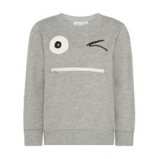 Grijze sweater met gezicht - nmmfacool light sweat