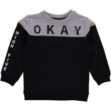 Zwarte sweater met grijze accenten - nmmdanson sweat black