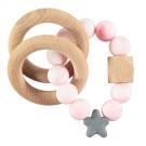 Bijtrammelaar met kralen - pink marble